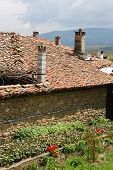 pic of chimney  - chimneys village houses in the mountains in Bulgaria in the spring - JPG