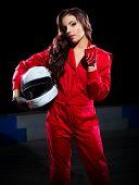 image of karts  - Young girl karting racer isolated - JPG