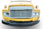 picture of truck-stop  - front view of old truck with crack color on white background - JPG