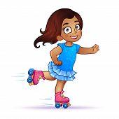 stock photo of roller-skating  - Little girl Latina rides on roller skates - JPG