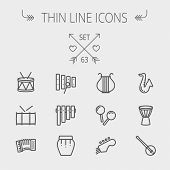 stock photo of pipe organ  - Music and entertainment thin line icon set for web and mobile - JPG