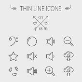 image of drum-set  - Music and entertainment thin line icon set for web and mobile - JPG