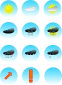 stock photo of windy weather  - weather forecast icon buttons color vector illustration - JPG
