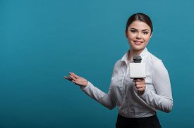 picture of women rights  - Waist up portrait of elegant woman reporter with brown hair - JPG