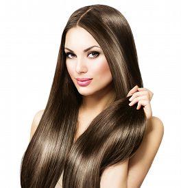 foto of dark-skin  - Beauty Model girl with Healthy Brown Hair - JPG
