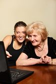 Grandma And Granddaughter With A Laptop