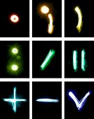 punctuation marks painted with light