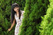 beautiful asian woman outdoors