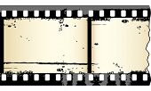 Two frames of grungy film strip in editable vector