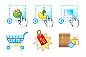 Ícone colorido com e-commerce, e-compras, objetos e-mercado