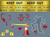 Caution sign lines, body contour, blood marks and cones at the crime scene