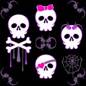 stock photo of emo-boy  - Set of emo skulls with decoration elements - JPG