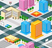 Isometric city seamless pattern with roads, estate and public buildings