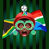 South african soccer fan in ball-helmet and funny glasses