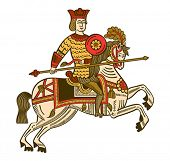Folk russian lubok drawing of mighty knight on horse