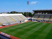 Empty soccer stadium