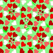 Floral colorful valentines hearts design background