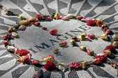 Memorial mosaic to John Lennon located in Central Park, NY
