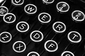 A closeup of vintage typewriter keys.