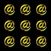 Email @ Signs Gold Pattern