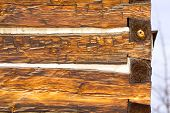 Antique Square Log Cabin Wall End