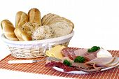 Breakfast, Fresh Baked  Bread, Cheese And Meat
