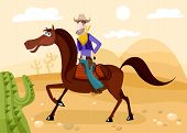 foto of bucking bronco  - vector illustration of a cute cowboy with design elements - JPG