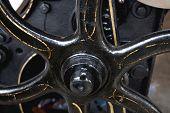 Flywheel Closeup Of Old Printing Press