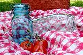 Vintage Canning Jars On Antique Table Cloth