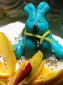 Blue Rabbit On Fruit Cake