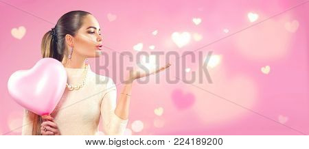 Valentine Beauty girl with pink