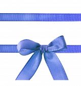 blue ribbon bow isolated on white