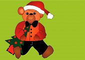 Cute Little Christmas Bear With A Christmas Tree Eps Vector