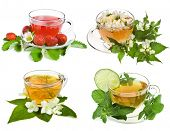 Herbal and fruit teas. Collection isolated on white background