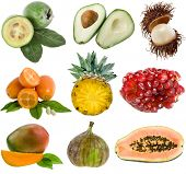 collection ripe exotic fresh fruits isolated on white