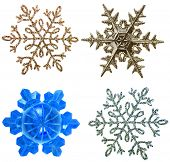 snowflake ornament Christmas tree decoration isolated on white background