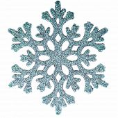 Ornamental snowflake glittering on pure white background