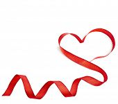 red heart ribbon isolated on white background