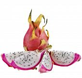 Pitahaya dragon fruits isolated on white background