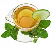 mint tea isolated over white background