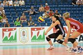 DEBRECEN, HUNGARY - JULY 9: Rita Liliom (in black) in action at a CEV European League woman's volley