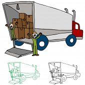 Uma imagem de um caminhão movente com trabalhadores.