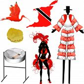 picture of scarlet ibis  - Vector Illustration of 6 different Trinidad and Tobago icons - JPG