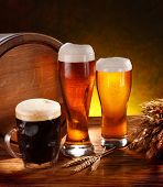 picture of jug  - Still Life with a keg of beer and draft beer by the glass - JPG