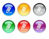 Six Color Crystal Icons Of Pencil