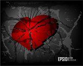 Dark scratch grunge background with broken heart