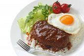 placa de la hamburguesa de moco loco, cocina hawaiana