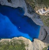 Aerial view on Zakynthos island Greece - The famous Shipwreck beach
