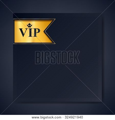 poster of Vip Club Party Premium Invitation Card Poster Flyer. Black And Golden Design Template With Copy Spac