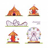 Amusement Park Attractions Illustrations Set. Merry Go Round Vintage Carousel Isolated Design Elemen poster